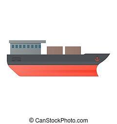 Vector illustration oil tanker, flat design. - Vector...