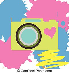 Old-fashioned color camera. Flat style. Abstract color spots background