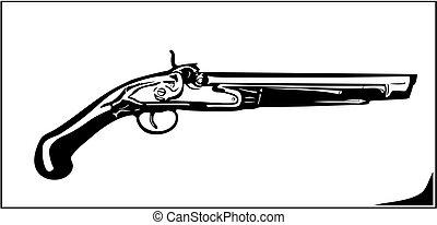 Vector illustration old flintlock rifle