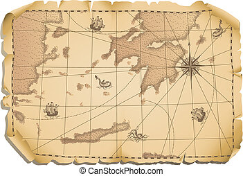 old map - Vector illustration - old map background