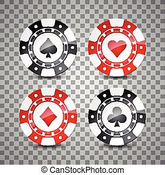 Vector illustration on a casino theme with color playing chips on transpareent background.