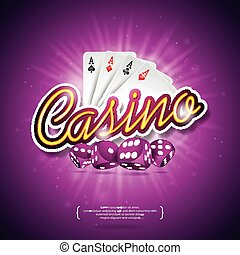 Vector illustration on a casino theme with color playing chips, poker cards, red dices and shiny caption on dark violet background. Gambling design elements.