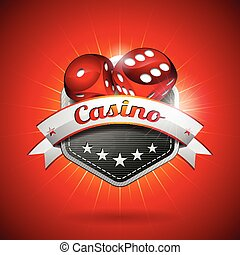 Vector illustration on a casino theme with dices and ribbon. EPS 10 design
