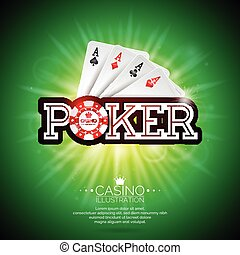 Vector illustration on a casino theme with playing cards and shiny poker caption on green background. Gambling design elements.