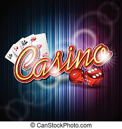 Vector illustration on a casino theme with poker card and dices on dark background. EPS 10 design