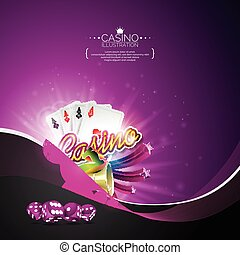 Vector illustration on a casino theme with poker cards and gambling design elements on dark violet background.