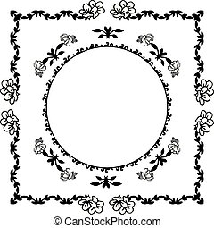Vector illustration on a white background with various wreath frame