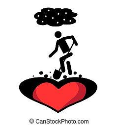 Vector illustration on an unhappy love theme.