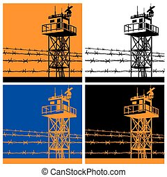 Vector illustration on the theme of frontiers. watchtower or observation tower