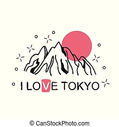 Vector illustration on the theme of Japan, Tokyo for t-shirt with mountain ridge