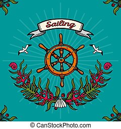 Vector illustration on the theme of sea travel and sailing