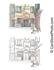Vector illustration on the theme of the streets of Venice in...