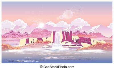 sunrise over the beautiful waterfall