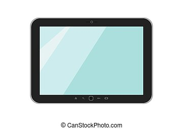Vector illustration on white isolated background. Black tablet. Flat style