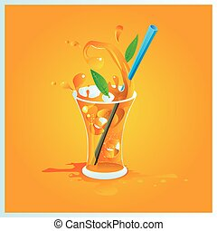 vector illustration one glass of orange juice with ice