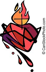 Jesus Christ Sacred Heart - Vector illustration or drawing...