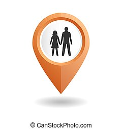 Orange map pointer with a people icon