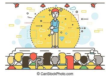 Vector illustration orator spokesman spokesperson speaker businessman closed posture fear rhetor politician speech stage audience business presentation spitch line art linear style