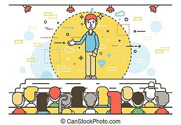 Vector illustration orator spokesman spokesperson speaker businessman rhetor hand in pocket politician speech speaking stage audience business presentation spitch line art style