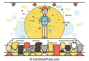 Vector illustration orator spokesman spokesperson speaker keeps fingers together businessman rhetor politician speech stage audience business presentation spitch line art style