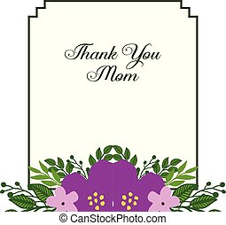 Vector illustration ornate of purple flower frame with design of card thank you mom