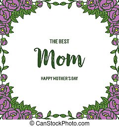Vector illustration ornate of purple rose flower frame with letter of mom