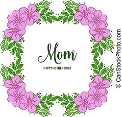 Vector illustration ornate of purple wreath frame with banner i love you mom