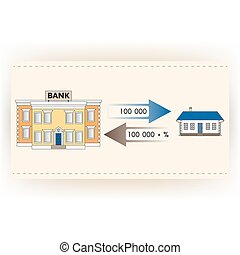Vector illustration: ?ortgage loan to buy a house. Returns mortgage loan with interest. Infographics: Mortgage loan as a cash flow. Buying real estate in white, yellow, brown, blue colors.