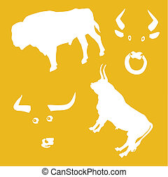 vector illustration oxen on yellow background