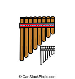 Pan flute - Vector illustration : Pan flute on a white...
