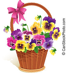 Pansies - Vector illustration - Pansies in a basket
