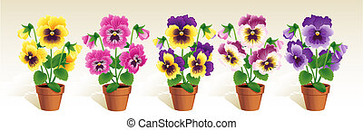 Vector illustration - Pansies in a terracotta pots