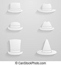 Paper hats icon set