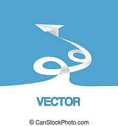 Vector illustration, paper plane in the sky