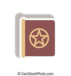 Vector illustration paper sticker Halloween icon Old magic book