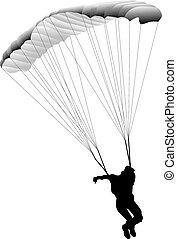 vector illustration paratrooper jumping