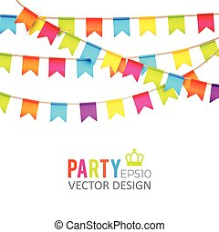 Vector illustration. Party Flags Design with Confetti....