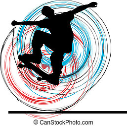 vector, illustration., patinador
