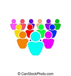 Vector illustration, people crowd, all people are different, it is normal to be in your own color.