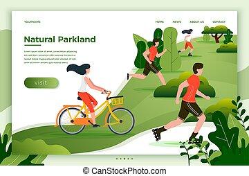 Vector illustration people riding, running in park