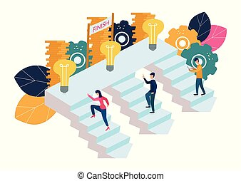 Vector illustration, people run and go to their goal on the stairs, raise motivation, the way to achieve the goal.