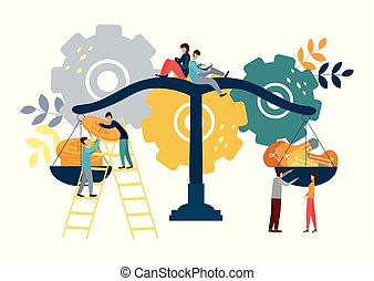 Vector illustration. People spreading money and ideas on scales, business concept.