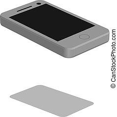 vector illustration phone three dimension design white color