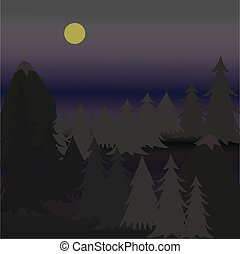 Vector illustration pine trees on rugged mountain at night