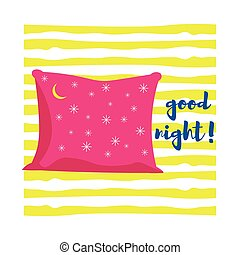 Pink pillow with stars and moon. Background of yellow stripes