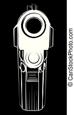 Vector illustration pistol. Criminal arm pistol gun and danger military weapon.