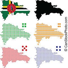 Vector illustration pixel map of Dominica.