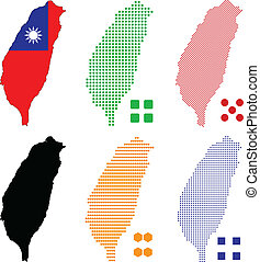 Taiwan - Vector illustration pixel map of Taiwan.