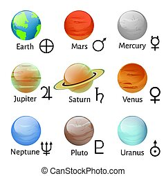 Zodiac and astrology symbols - Vector illustration planet...