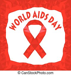 Vector illustration polygonal red ribbon world aids day
